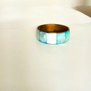 Turquoise & gold tone bracelet bangle